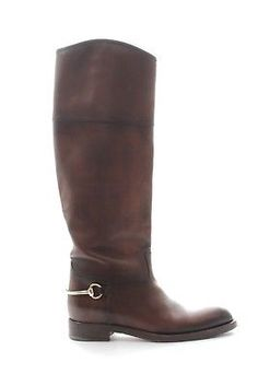 Gucci Classic Leather Horsebit Riding Boots / Brown / RRP: Â1150.00