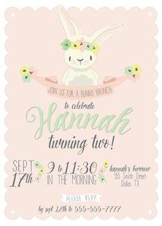 Whimsical Bunny Birthday Party Invitation Bunny by KJPaperieCo