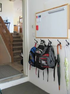 Putting Together a Backpack Station - Wall Storage, Garage Storage, Organizing Your Home, Organizing School, Organization Ideas, Backpack Station, School Bag Storage, Hallway Walls, Family Command Center