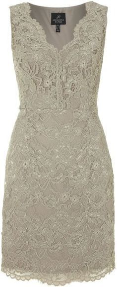 V Neck Lace Detail Dress - Lyst