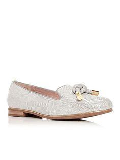 House of Fraser - Moda in Pelle - Estela loafers in silver --- £75.95