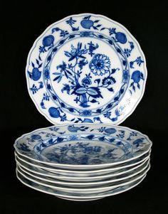 "7 Meissen Hand Painted Porcelain Blue Onion Pattern Plates 9 1 2"" | eBay"