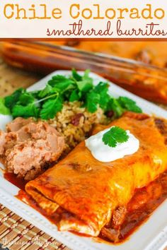 Slow Cooker Chile Colorado Smothered Burritos These were so good! Super easy and tasted like restaurant burritos! Def make again! Crock Pot Slow Cooker, Slow Cooker Recipes, Crockpot Recipes, Cooking Recipes, Crockpot Chile, Slow Cooking, Easy Recipes, Huevos Rancheros, Mexican Dishes