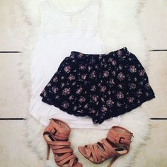 """❤️Floral chiffon shorts w/ lace hem Feminine and flirty chiffon floral shorts with black lace hem. Size is small but fits more like xs or 00. Can be dressed up or down. Length is short. Approx. waist 11"""", length 10.5"""", inseam 1.5"""". Worn a handful of times, in great condition. No PayPal, no trades. Necessary clothing  Shorts"""