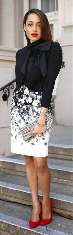 CORPORATIVE CHIC[spring]: black and white; red heels