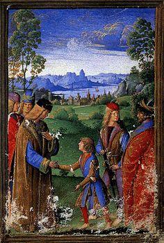 Maximillian Sforza Duke of Milan,son of Ludovico Sforza and Beatrice d'Este, as a child meeting the Holy Roman Emperor Maximillian I