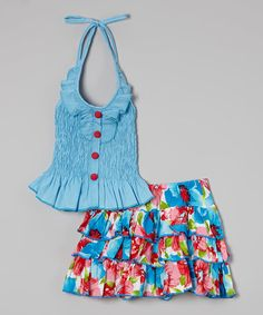 Another great find on #zulily! Blue Shirred Halter Top & Floral Tiered Skirt - Toddler & Girls #zulilyfinds