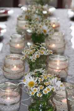 Hottest 7 Spring Wedding Flowers to Rock Your Big Day--baby breath and daisy wedding centerpieces Wedding Table, Diy Wedding, Wedding Reception, Rustic Wedding, Wedding Flowers, Dream Wedding, Diy Flowers, Wedding Ideas, Daisy Wedding Centerpieces