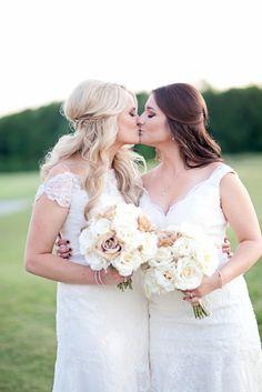 Lesbian wedding portrait | Two brides kissing | Louisiana Rustic DIY Wedding | Two Brides | Equally Wed - LGBTQ Weddings