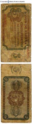 España - 5 ptes. : Banco de España, cinco pesetas, de curso legal, Burgos 10 de agosto de 1938 :: Paper moneda del Pavelló de la República (Universitat de Barcelona)