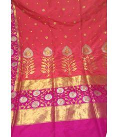 Dark Pink Pure Banarasi Handloom Katan Silk Saree