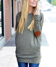 Look what I found on #zulily! Olive Elbow Patch Tunic #zulilyfinds