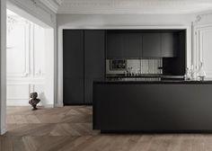 cuisine noire mat et bois moderne