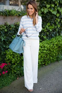 Wide-leg pants will keep you cool in a work setting that doesn't allow legs. #workattire #summerfashion