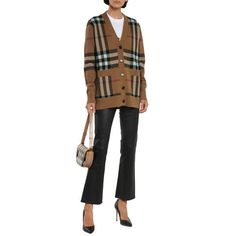 Burberry Willah Oversized Check Cashmere & Wool Cardigan Embroidered Sweatshirts, Cashmere Wool, Winter Looks, Wool Cardigan, Winter Wardrobe, Casual Chic, Burberry, Knitwear, Leather Pants