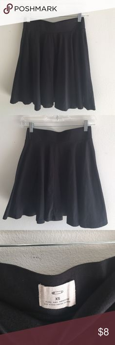 Urban Outfitters Pins & Needles Skater Skirt Stretchy, flouncy skater skirt with elastic waistband. Solid black. Cute high waisted piece. Worn only once or twice. Urban Outfitters Skirts Circle & Skater