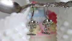 Pastry Chef Hat Earrings  Baking Jewelry ,Pewter Charms, chef hat, rolling pin,.