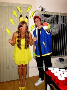 Here's our cool homemade couple costume - Pikachu and Ash. The Pikachu costume is made from a yellow dress, heels, and a Pikachu headband/tail combo s...