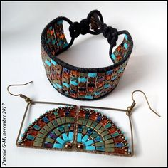 Bracelet wrap et BO Mandala Quarter Beaded Earrings, Beaded Jewelry, Crochet Earrings, Beaded Bracelets, O Beads, Seed Beads, Twin Beads, Jewelry Crafts, Jewelry Ideas