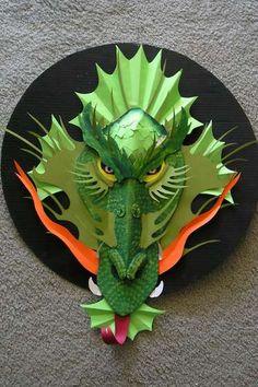 Dragon Birthday, Dragon Party, Cardboard Sculpture, Cardboard Art, Paper Clay, Paper Art, Paper Crafts, Kirigami, Enchanted Forest Book