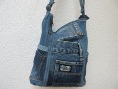 Jeans bag Way waiting xxIII, shoulder bag made of used jeans, bag made of medium blue denim fabrics, Denim Bag, Denim Pants, Jeans, Denim Fabric, Overall Shorts, Bag Making, Blue Denim, Waiting, Shoulder Bag