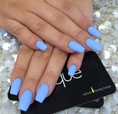 Best Winter Nails for 2018 - 65 Cute Winter Nail Designs - Best Nail Art Periwinkle Nails, Blue Matte Nails, Pastel Blue Nails, Light Blue Nails, Gorgeous Nails, Pretty Nails, Hair And Nails, My Nails, Nagel Gel