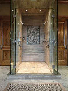 Beautiful tile work in this Mountain Chalet shower