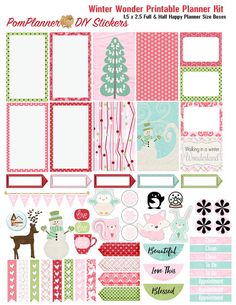 Winter Wonder Printable Planner Kit 3 PDFs by DigiScrapDelights #christmas #planner #stickers #layout #printable #decoration #decor #plannerlove #december #winter #gingham #cheer #digiscrapdelights #pomplanner