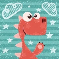 Ilustração Dino in 2019 Cartoon Drawings, Cute Drawings, Painting For Kids, Art For Kids, Die Dinos Baby, Baby Posters, Nursery Artwork, Baby Art, Cute Illustration