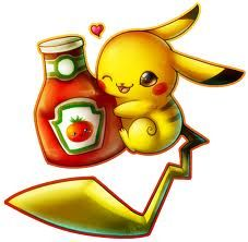 Cute pikachu and i dont know why he is hugging ketchup but okay