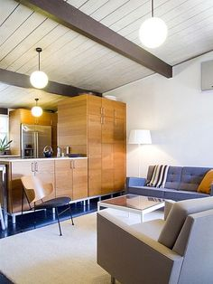 Modern Eichler Home....love the simplicity, the space and the exposed beams.