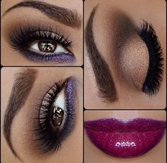 Perfect for brown skin! Purple and golden smokey hues eye makeup