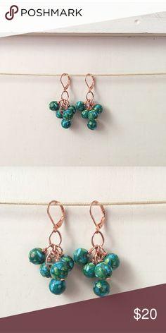 NATURAL BLUE GREEN STONE & COPPER EARRINGS NEW, HANDCRAFTED. PRETTY NATURAL BLUE GREEN STONE & COPPER EARRINGS adorned by amie Jewelry Earrings