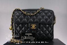 CHANEL Black Caviar Vintage Sac Camera Bag Gold Hw
