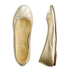 Girls' classic metallic leather ballet flats