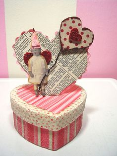 darling altered art Valentine's box. Leave off the box and it's a darling card.