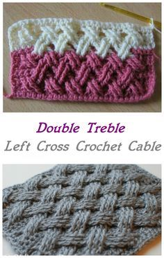 Double Treble Left Cross Crochet Cable