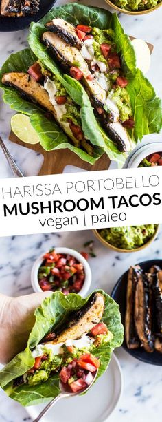 Harissa Portobello Mushroom Tacos - lighten up your tacos with collard greens! These tacos are ready in under 30 minutes! vegan, gluten-free, paleo, whole30-friendly. by