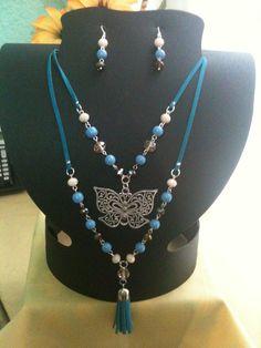 Collar doble (gamuza, piedra y cristal)