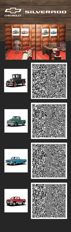 A classic Chevy twist for your hideaway. See our #AnimalCrossing Pins to complete the theme.  Scan each QR Code with your Nintendo Switch Online app on your mobile device. You'll need to have a basic understanding how to download and access items in Animal Crossing. We suggest some research prior to scanning the QR Codes. Some tips if you're having trouble: enlarge the picture, adjust the brightness on your monitor or download the image to your computer prior to scanning. Chevy, Chevrolet, Gta 5 Online, Qr Codes, Floor Design, Animal Crossing, Nintendo Switch, Monitor, App