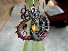 Silk Spiral Earrings Colorful Recycled Fabric Elksong by RoughSoul $69.00