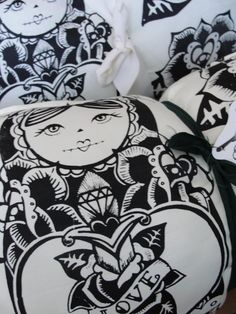 #babushka #Russian doll #pillow #tattoo #handmade #etsy #black and white #roses
