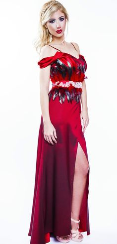 Long Tafta and saten dress with rooster feathers and Swarovski cristals, created by SINE by SEILA Designer Shop www.sinebyseila.com