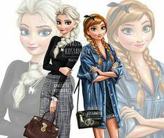 Princesses ❤️Fashion illustration 🖤💕 - Mara E. Disney Princesses And Princes, Disney Princess Drawings, Disney Princess Art, Princess Style, Disney Drawings, Emo Disney, Cute Disney, Disney Girls, Disney Art