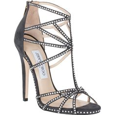 Jimmy Choo Vendetta Suede Crystal Sandal ($1,015) ❤ liked on Polyvore featuring shoes, sandals, heels, sapatos, high heels, strappy heeled sandals, high heel sandals, strap sandals, embellished sandals and swarovski crystal sandals