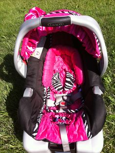 Hot pink and zebra baby girl car seat cover