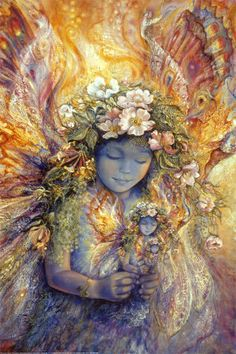 "Faeries, come take me out of this dull world,  For I would ride with you upon the wind,  Run on the top of the dishevelled tide,  And dance upon the mountains like a flame.  ~William Butler Yeats, ""The Land of Heart's Desire,"" 1894--The Fairies Fairy by Josephine Wall http://www.art.co.uk/products/p12493153-sa-i1846868/josephine-wall-the-fairys-fairy.htm"