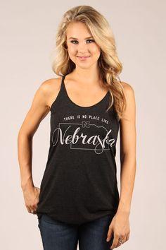 Nebraska No Place Like Nebraska Tank Top in Black | Original College Jeans - OCJ Apparel