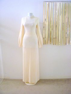 Stunning Ivory 70s Cocktail Dress  Vintage Boho by OmAgainVintage, $65.00