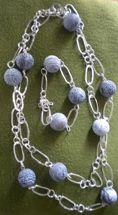 Silver chain necklace and braclete with Chinese beads $40